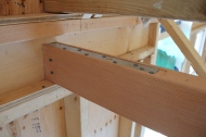 Tie attached to the Douglas Fir loft framing.