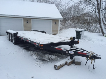 The trailer had to come through a blizzard but it made it