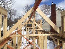 First roof joists are in place